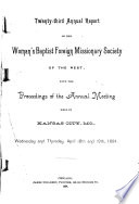 Annual Report Of The Woman S Baptist Foreign Missionary Society Of The West