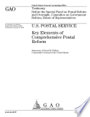 U S  Postal Service key elements of comprehensive postal reform