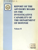 Report of the Advisory Board on the Investigative Capability of the Department of Defense