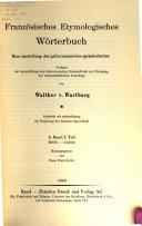 Franz  sisches etymologisches W  rterbuch  A Z
