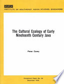The Cultural Ecology of Early Nineteenth Century Java