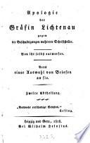 Apologie der Gräfin Lichtenau gegen die Beschuldigungen mehrerer Schriftsteller