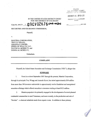 Mantria Corporation, Troy B. Wragg, Amanda E. Knorr, Speed of Wealth, LLC, Wayde M. McKelvy, and Donna M. McKelvy: Securities and Exchange Commission Litigation Complaint - ISBN:9781457810039