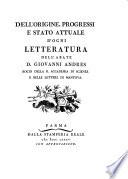 Dell Origine  Progressi E Stato Attuale D Ogni Letteratura