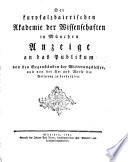 Der kurpfalzbairischen Akademie der Wissenschaften in München Anzeige an das Publikum von den Gegenständen der Witterungslehre