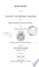 Records of the Colony of Rhode Island and Providence Plantations  in New England  1707 1740