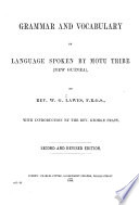 Grammar And Vocabulary Of Language Spoken By Motu Tribe New Guinea