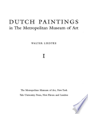 Dutch Paintings in the Metropolitan Museum of Art