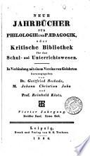 Neue Jahrbucher fur Philologie und Paedagogik oder Kritische Bibliothek.