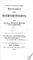 Ueber Deutsche Vornamen Und Geschlechtsnamen