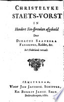 Christelyke Staets Vorst In Hondert Sin Spreuken Afgebeeld