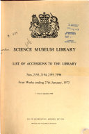 List of Accessions to the Library