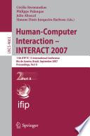 Human Computer Interaction   INTERACT 2007