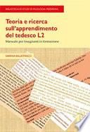 Teoria e ricerca sull   apprendimento del tedesco L2