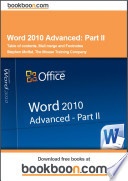 Word 2010 Advanced  Part II