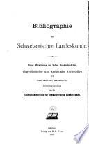 Bibliographie der Schweizerischen Landeskunde