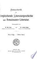 Zeitschrift für vergleichende litteraturgeschichte ...