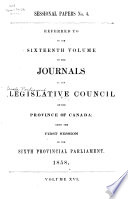 Journals of the Legislative Council of the Province of Canada