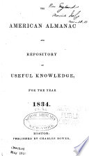 the american almanac and repository of useful knowledge for the year 1834