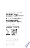 """Conférence Internationale """"Tourisme Durable, Environnement Et Emploi"""""""