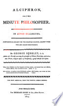 Alciphron  Or The Minute Philosopher