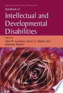 Handbook Of Intellectual And Developmental Disabilities book
