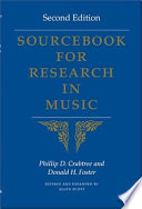 Sourcebook For Research In Music book