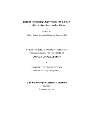 Digital Processing Algorithms for Bistatic Synthetic Aperture Radar Data - ISBN:9780494318980