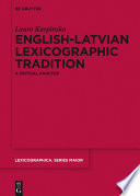 English Latvian Lexicographic Tradition