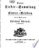 Dritte Lieder-Sammlung mit Klavier-Melodien. In die Musik gesezt von Christoph Rheineck, in Memmingen