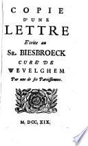 Copie d une lettre   crite au sieur Biesbroeck cur   de Wevelghem par une de ses paraissiennes