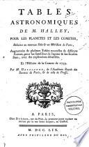 Tables astronomiques ... pour les planetes et les cometes [tr. and ed.] par m. Delalande