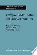 Lexique-grammaire Des Langues Romanes