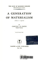 A Generation of Materialism 1871 1900