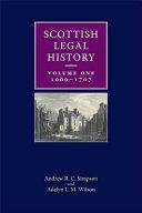 Scottish Legal History  1000 1707