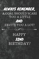 Always Remember A Goal Should Scare You A Little And Excite You A Lot Happy 32nd Birthday