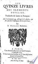 Les Qvinze Livres Des Elements D Evclide