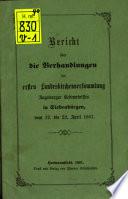 Bericht über die Verhandlungen der Landeskirchenversammlung Augsburger Bekenntnisses in Siebenbürgen