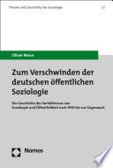 Zum Verschwinden der deutschen öffentlichen Soziologie