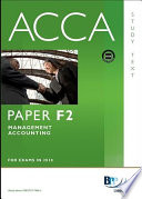 ACCA Paper F2   Management Accounting Study Text