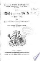 Johann Georg Zimmermann ... von der Ruhr unter dem Volke im Jahr 1765, und denen mit derselben eingedrungenen Vorurtheilen ...