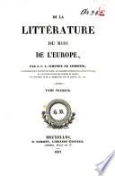 De la littérature du Midi de l'Europe
