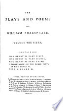 The plays and poems of William Shakspeare  with the corrections and illustr  of various commentators  to which are added An essay on the chronological order of his plays  an essay relative to Shakspeare and Jonson  a dissertation on the three parts of King Henry vi  an historical account of the English stage  and notes  By E  Malone  10 vols   in 11 pt