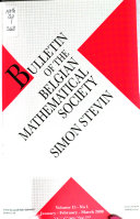 Bulletin Of The Belgian Mathematical Society Simon Stevin book