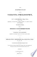 The Exposition of the Vedanta Philosophy by H  T  Colebrooke  vindicated