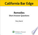 California Remedies Short Answer Questions for the Bar Exam