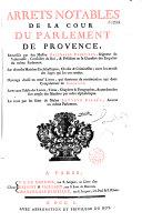 Arrets notables de la cour du parlement de Provence
