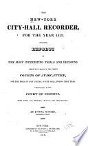 The New-York City-hall Recorder : ...