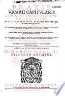 Praxis vicarii capitularis Antonii Flaminii Marchetti de Angelinis