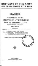 Department of the Army Appropriations for 1958
